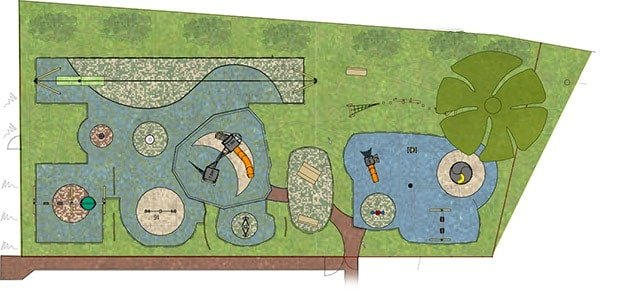 2D design of the play area from Playdale's playground design team
