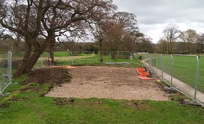 Cleared play area site, ready to start the installation of the new equipment